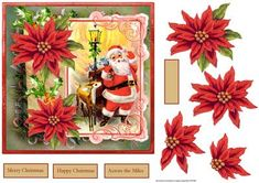 Vintage Santa and reindeer 7x7 card on Craftsuprint designed by Angela Wake - Vintage Santa and reindeer 7x7 card with poinsettia decoupage and sentiment tags - Now available for download!