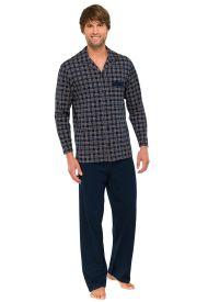 Collectie 'Schiesser' nightwear doorknooppyjama, uni-blauwe broek met blauwe ruiten vest in 100% katoenen tricot, prijs €70,--. Verkrijgbaar bij Ster Born mode [Je EiGen sTijl]