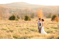 "Melissa & Corey looking beautiful amidst our ""field of dreams"" in late fall! @ Khimaira Farm outdoor barn wedding venue Shenandoah Valley Blue Ridge Mountains Luray VA"