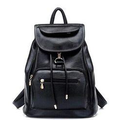 new 2016 school bag women backpack shoulders female travel bags new wind tide pu leather with soft black bag