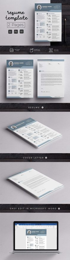 Modern Resume & CoverLetter Template by Hito Graphic on Professional & Clean Resume/CV Word Template. Elegant page designs are easy to use and customize, so you can quickly tailor-make your resume for any opportunity and help you to get your job. College Resume Template, Resume Cover Letter Template, Creative Resume Templates, Cv Template, Letter Templates, Design Templates, Resume Tips, Resume Cv, Resume Examples