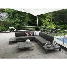 4 Seasons Outdoor Ocean 4-delig loungeset - Slate grey Aluminium
