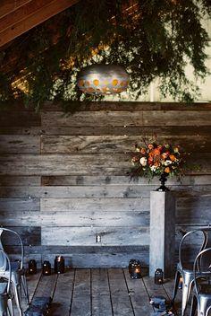 industrial wedding ideas - photo by Abigail Bobo Photography http://ruffledblog.com/moody-black-and-white-wedding-ideas