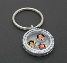 Silver Floating Photo Locket Keychain Kit w/ 6 Charms
