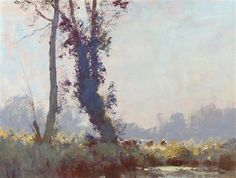 Edward Seago - Trees and Cattle near Barton Mills Watercolor Landscape, Landscape Paintings, Watercolor Paintings, Landscapes, Watercolours, Oil Paintings, English Artists, Impressionist Paintings, Art Studios