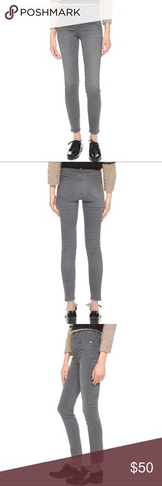 Madewell high riser skinny grey pants A gray wash and distressed edges lend a lived-in look to these Madewell jeans. 5-pocket styling. Button closure and zip fly.  Fabric: Stretch denim. 91% cotton/6% polyester/3% elastane. Wash cold or dry clean. Madewell Pants Ankle & Cropped