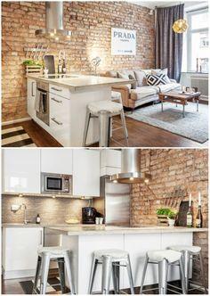 No apartamento de 45 metros quadrados, o estilo industrial ganhou toques sofisticados. Na cozinha, os eletrodomésticos foram bem distribuídos: forno e cooktop ficam na ilha, enquanto a geladeira, a máquina de lavar louça e o micro-ondas foram embutidos na marcenaria da parede.