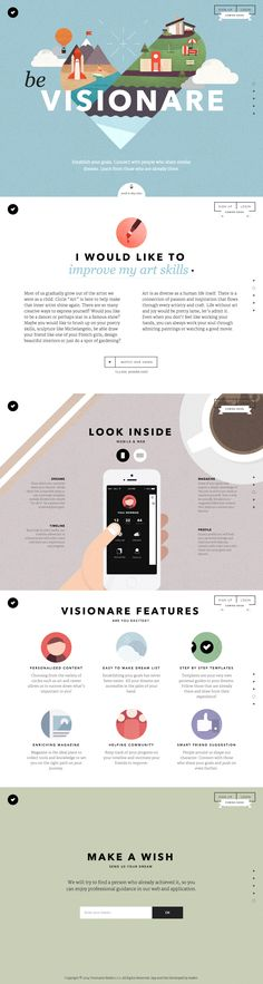 Be Visionare is a fantastic example of flat web design with detailed, but not distracting, illustrations. Layout Design, Interaktives Design, Web Layout, Flat Design, Interface Design, Interface Web, Design Websites, Website Design Inspiration, Graphic Design Inspiration