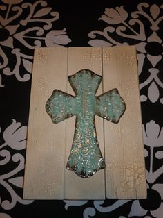 Crackled Paint Wooden Cross Sign by Crafts4CausesREE on Etsy, $25.00