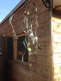 Old coins, keys, cutlery and garden wire makes for a great wind chime.