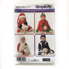 ✂️Simplicity 3973 CHILDS' AND DOG ACCESSORIES IN THREE SIZES..... .. Dog Clothes suitable for dogs with a bodylength (measured from collar to the base of tail) of 6 to 8 (15cm to 20.5cm) and chest 12 to 14 (30.5cm to 35.5cm) for X-Small, 8 to 10 (20.5cm to 25.5cm) and chest 15 to 18 (38cm to 45.5cm) for Small and 12 to 14 (30.5cm to 35.5cm) and chest 19 to 23 (48.5cm to 58.5cm) for Medium; Weight approx. 4 lbs. to 8 lbs. (1.48kg. to 3.6kg.) for X-Small, 7 lbs. to 11lbs. (3.2kg. to 5.0kg.)…