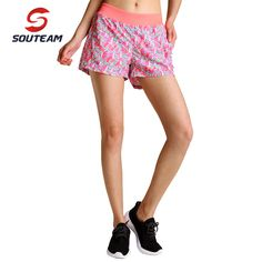 SOUTEAM Brand Summer Sports Shorts For Women Cool Yoga Comfortable Elastic Fitness Shorts With Liner #S160004-ORANGE