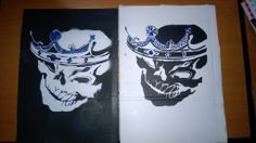 Twin Kings Skull Stencil