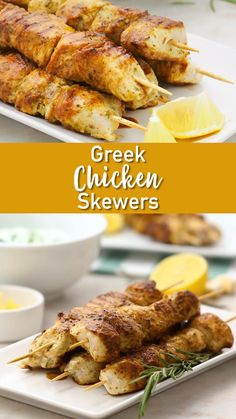Because chicken on a skewer should not be boring, and definitely shouldn't be bland! And the tzatziki dipping sauce is dreamy. Foodie travel Greek Chicken Skewers with Tzatziki Dipping Sauce Grilling Recipes, Cooking Recipes, Healthy Recipes, Vegetarian Grilling, Healthy Grilling, Barbecue Recipes, Barbecue Sauce, Vegetarian Food, Keto Recipes