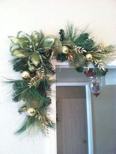 Not this color but this is Green & Gold Christmas Swags for Door Frames, Mirrors, Mantels and More.by Greatwood Floral Designs. Christmas Door Decorations, Christmas Swags, Decorating With Christmas Lights, Green Christmas, Outdoor Christmas, Christmas Home, Christmas Holidays, Christmas Ornaments, Holiday Decor
