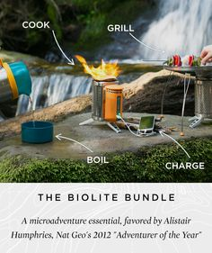 """*""""The biolite stove is one of the coolest camping devices I've come across since moving in to my car. The electricity gets the fire burning very quickly and efficiently. It's great for boiling water and the charging feature kicks ass. Biolite Stove, Biolite Campstove, Thermoelectric Generator, Foster Huntington, Cheap Electricity, Solar Energy Projects, Portable Grill, Lounge, The Ultimate Gift"""