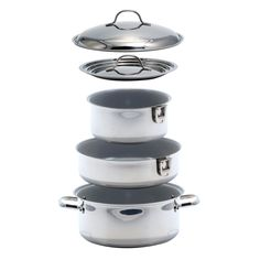 Kuuma 7-Piece Ceramic Nesting Cookware Set - Stainless Steel w/Non-Stick Coating - Induction Compatible - Oven Safe - https://www.boatpartsforless.com/shop/kuuma-7-piece-ceramic-nesting-cookware-set-stainless-steel-wnon-stick-coating-induction-compatible-oven-safe/