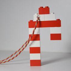 Lego Candy Cane Christmas Tree Ornament Handmade by WhatsThatUK