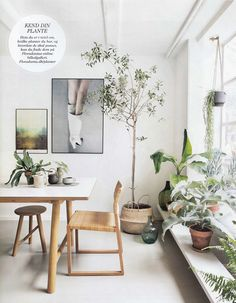 Styling by Rikke Graff Juul - Boho et Jungle - La touche d'Agathe - eclectic plant green hanging Bohemians Tropical bohème garland indoor greenery Boho vintage leaves palm botanical deco living room bedroom decoration intérieure