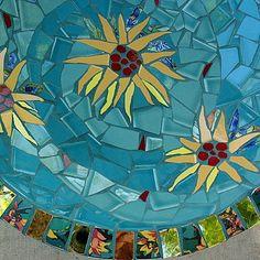 Mosaic Bird Bath Sunflowers by MosaicRenaissance on Etsy