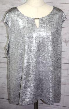 Calvin Klein Womens Sleeveless Key Hole Silver Shimmer Stretch Knit Top 1XL #calvinklein #Shell #Versatile