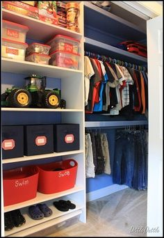 Toddler closet organization dollar stores home 20 Ideas Kids Closet Storage, Boys Closet, Kids Room Organization, Closet Shelves, Closet Bedroom, Kids Bedroom, Storage Bins, Diy Storage, Clothing Organization