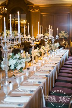 Fort Worth Club in Texas, Ballroom wedding reception.  White, ivory flowers, glassware, classic, elegant, sleek decor.  Photo by Lightly Photography http://lightlyphoto.com