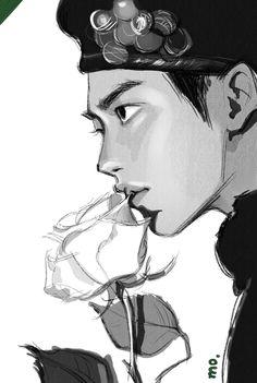 Kyungsoo, Kaisoo, Chanyeol, Akira, Exo Fan Art, Kpop Drawings, Kpop Fanart, Anime Outfits, Art Inspo
