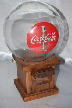 Coca-Cola Gumball Dispenser Peanut Candy Machine Wooden Base 1940's #CocaCola