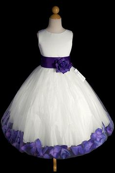 Hollie Ivory or White Flower Girl Dress with Purple Petals   from 1-special-day.com