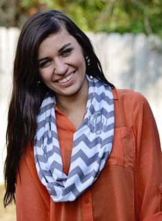 Monogrammed Infinity Scarf!  WhoopsieDaisyDesigns.com MUST have!! Chevron grey scarf with monogram! Perfect for spring wardrobe / spring fashion must have! Stinking cute! Teens/Tweens and us Moms