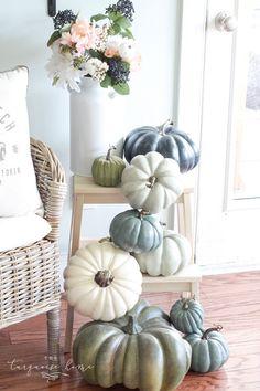 Budget-Friendly Fall Decor Tips & Fall Home Tour Blue Fall Decor, Fall Home Decor, Autumn Home, Thanksgiving Decorations, Seasonal Decor, Holiday Decor, Coastal Fall, Fall Table, Pumpkin Decorating