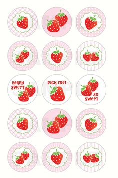 INSTANT DOWNLOAD - Sweet Strawberries Bottle Cap Images - 4x6 Digital Sheet - 1 Inch Circles for Bottlecaps, Hair Bow Centers, & More