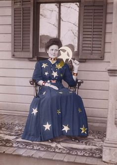 'Moon and Stars Woman on Porch' photograph  Maclancy, Etsy