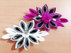 DIY Kreasi Bunga Dari Pita Satin - How to make a satin ribbon flower - YouTube