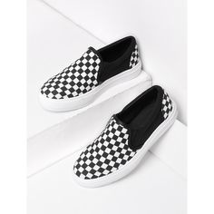 b9c5e50ceaea Shop Gingham Canvas Slip On Plimsolls online. SheIn offers Gingham Canvas  Slip On Plimsolls   more to fit your fashionable needs.
