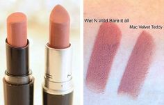 MAC Velvet Teddy / Wet N Wild Bare It All | MAC Lipstick Dupes We Can't Live Without, check it out at http://makeuptutorials.com/mac-lipstick-dupes-makeup-tutorials