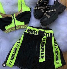 New summer 2020 neon collection set - touch of class store Baddie Outfits Casual, Neon Outfits, Cute Comfy Outfits, Sporty Outfits, Swag Outfits, Stylish Outfits, Girls Fashion Clothes, Teen Fashion Outfits, Teenage Outfits