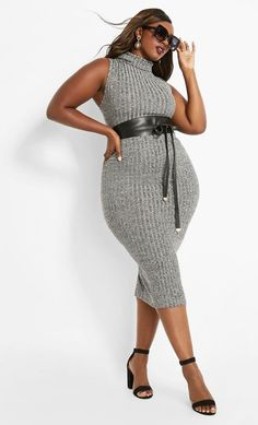 Women's Plus Size Sweater Dresses New Styles – Plus Size Gray Sleeveless Long Bodycon Cocktail Dress. Gray plus size ribbed bodycon cocktail dress in a sleeveless knit sweater dress with cowl neckline. Plus Size Skater Dress, Plus Size Bodycon Dresses, Plus Size Cocktail Dresses, Curvy Fashion, Plus Size Fashion, Fashion Pics, Fashion Styles, Men Fashion, Curvy Outfits