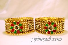 Rich Ruby and Emerald Bangle!! $100 SKU:400-3 I3  Bangle Size 2.6 but fits 2.8 as its a screw-type. Rich Ruby Emerald Bangle Set!!! – FineryAccents