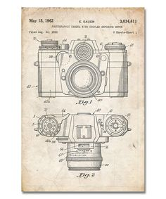 Love this Vintage Parchment Camera & Lens Patent Print on #zulily! #zulilyfinds