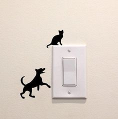 Dog Playing with Cat Sillhouette Vinyl Decal Sticker Light Switch Kids Nursery by FineDecalShop on Etsy