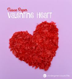 Easy and fun tissue paper Valentine heart craft for kids. Works on fine motor skills too!