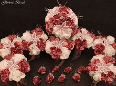 Pink and Mauve BEADED Flower Lily Wedding / Quincenarea Bouquet 16 PC Set with FREE Boutonnieres