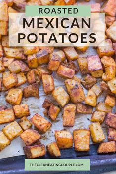 Mexican Potatoes are the perfect easy side dish! Roasted to crispy perfection, paleo, whole30 and absolutely delicious - these authentic potatoes are baked perfectly and go with everything! You can make them with cheese, or enjoy them plain. They're great for breakfast, lunch or dinner!#healthy #paleo #whole30 Yummy Vegetable Recipes, Healthy Potato Recipes, Healthy Gluten Free Recipes, Mexican Food Recipes, Whole30 Recipes, Clean Eating Guide, Easy Clean Eating Recipes, Easy Whole 30 Recipes, Healthy Side Dishes