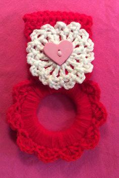 Valentine's kitchen towel hanger gift idea by Yarnhotoffthehook