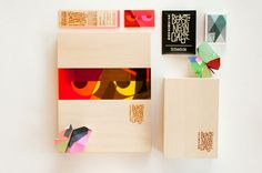 the packaging of the products uses raw wood on the outside to mimic the sophisticated veneers of these characters, but inside they explode with color, achieved through the use of various sheets of colored plastic.