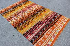 "Vintage Authentic NAVAJO Rug Woven Native American Interior Kilim Rug, orange, green red colored rug Wool Rug 6' 9.9""x4' / 208x124cm"