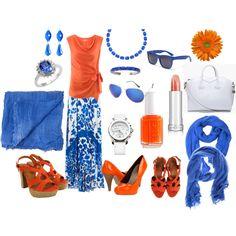 Orange blouse with blue