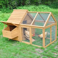 """Overall 62x47x44"""" Wooden Chicken Coop Nesting Box Backyard Run Poultry Pet Cage"""